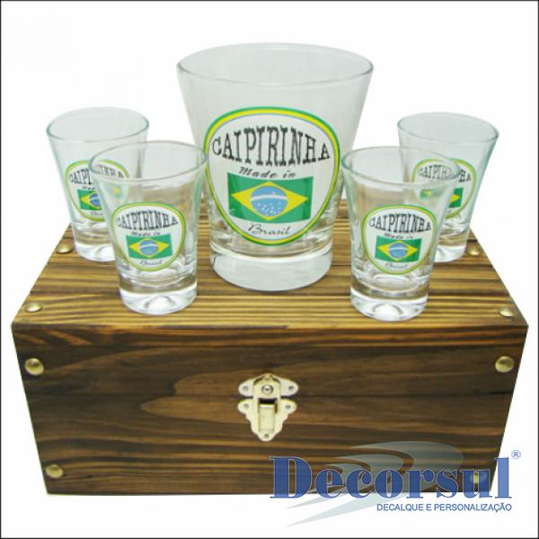 Jogo de copos caipirinha personalizado caixa madeira