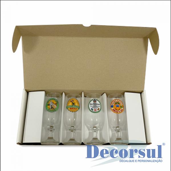 Jogo com 4 taças floripa 300ml personalizado caixa papelão