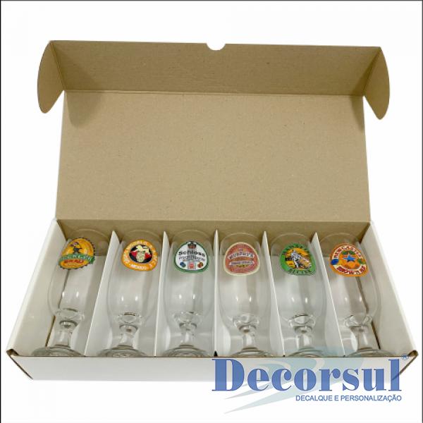 Jogo com 6 taças floripa 300ml personalizado caixa papelão