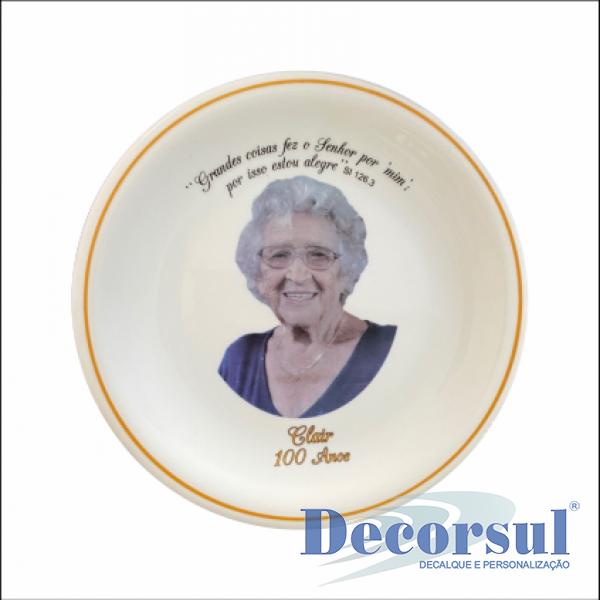 Prato sobremesa de porcelana personalizado 19cm diâmetro