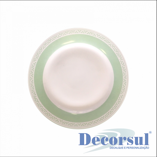 Prato de cerâmica sobremesa com aba 21cm diâmetro