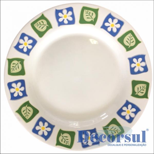 Prato de cerâmica raso com aba 26cm diâmetro